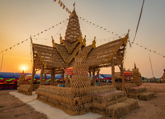 Thai farmer tradition that made the rice castle for appreciate and thank you to rice