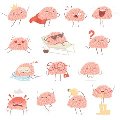 Brain cartoon. Happy cartoon mascot in action poses walking sleeping making exercises vector illustrations. Mascot brain funny and happy