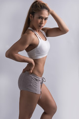 healthy and fit., Image for fitness woman in sportsware, young female model doing exercise with muscular body. look strong