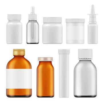 Pharmaceutical white bottles. Blank medicament supplement box or packages realistic white empty vector containers. Container realistic, package plastic bottle illustration