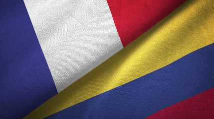 France and Colombia two flags textile cloth, fabric texture