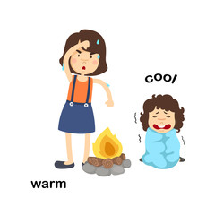 Opposite words warm and cool vector illustration
