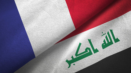 France and Iraq two flags textile cloth