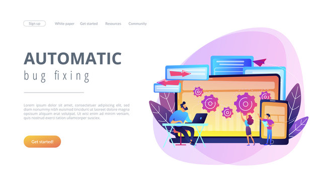 Tester and developer work with laptop and tablet. Cross platform bug founding, bug identification and testing team concept on white background. Website vibrant violet landing web page template.