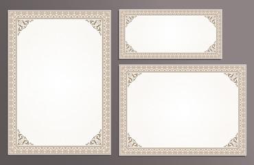 Certificate template frame set