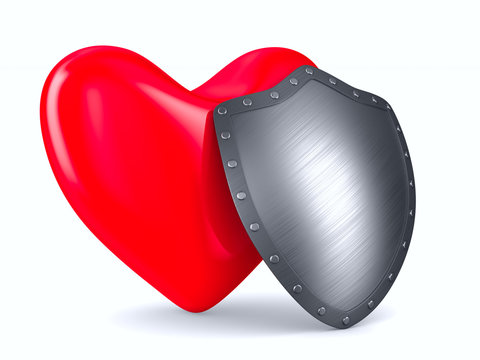 heart and shield on white background. Isolated 3D illustration