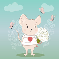 Cute little mouse with a bouquet of flowers. Drawn by hand. Vector.
