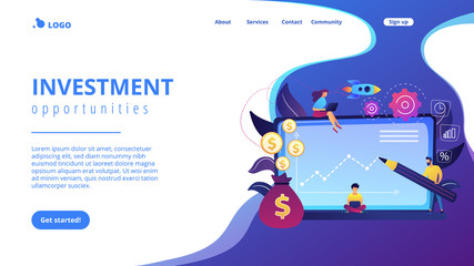 Investment managers with laptops offer better returns and risk management. Investment fund, investment opportunities, hedge fund leverage concept. Website vibrant violet landing web page template.