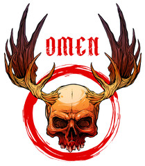 Detailed graphic realistic horrible colorful human skull with big moose horns or antlers. Isolated on white background with red circle. Vector icon.