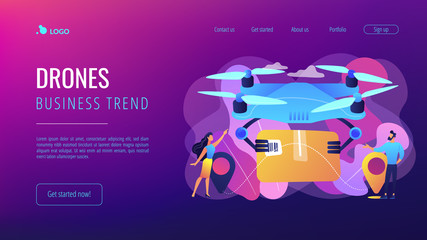 Drone transporting package to location pins with business people waiting for it. Drone delivery, commercial drone, drones business trend concept. Website vibrant violet landing web page template.