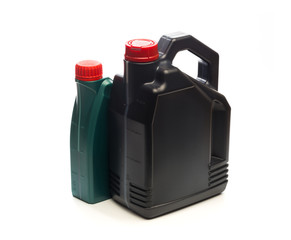 bottles of machine oil isolated