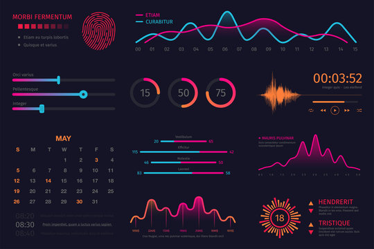 Infographic dashboard template. Data screen with colorful graphs, charts and HUD elements, statistics and analytics. Intelligent technology interface