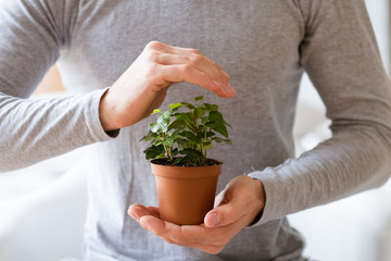 Nature protection concept. Earth day. Man covering houseplant with hand.