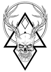 Detailed graphic realistic horrible black and white human skull with big deer horns or antlers. Isolated on white background with symbols. Vector icon.