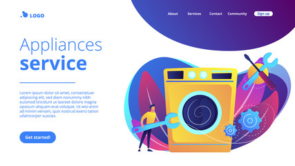 Service repairman with big wrench repairing washing machine. Repair of household appliances, smart TV service, household master services concept. Website vibrant violet landing web page template.