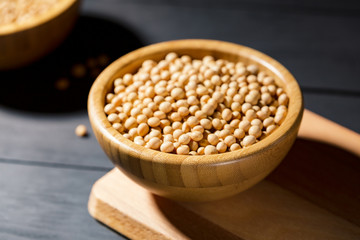 Healthy Soy bean in a bowl on black background