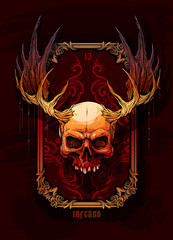 Detailed graphic realistic horrible colorful human skull with big moose horns or antlers. On dark background with hunting trophy frame. Vector icon.