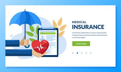 Health insurance concept. Vector medical care illustration. Landing page banner design for medicine, healthcare themes