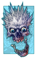 Detailed graphic realistic cool winter human skull with ice spikes and crazy eyes. On blue grunge background. Vector icon.