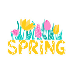 vector lettering word spring cute funny childish tulip crocus simple on white