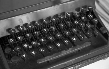 Old typewriter machine keyboard