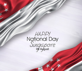 Vector illustration of Happy singapore Waving flags isolated on gray background 09 august.