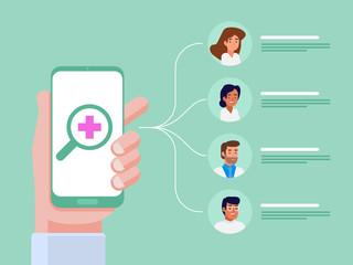 Mobile medical application. Flat vector illustration