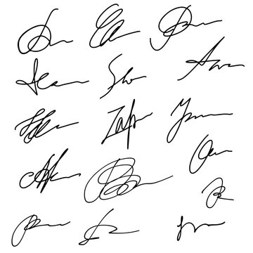 Hand drawn abstract signature set, business sign