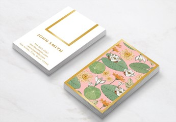 Business Card Layout with Vintage Floral Illustrations