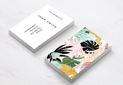 Business Card Layout with Colorful Leaf Illustrations
