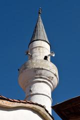 Minaret of Seyh cami mosque in Mugla city, Turkey