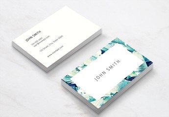 Business Card Layout with Banana Leaves
