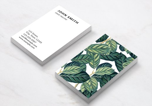 Business Card Layout with Leaves