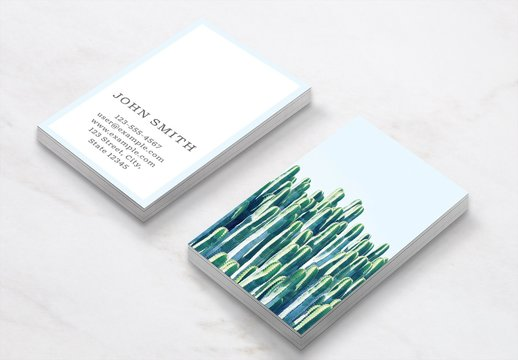 Business Card Layout with Cactus Leaves