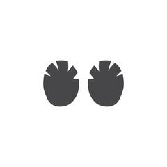 Vector rhino hippo elephant footprint black icon