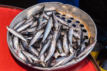 European anchovy (hamsi) for sale at a Turkish market.