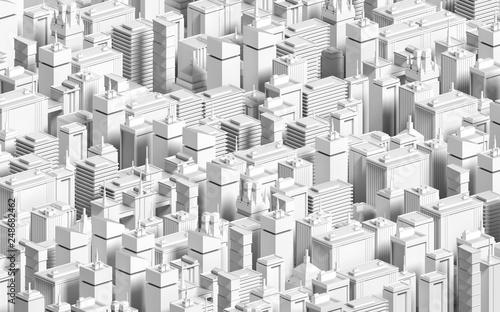 Low poly modern city model  3D render