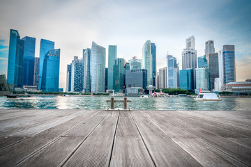Singapore city skyline of business district downtown in sunset time. Wall mural
