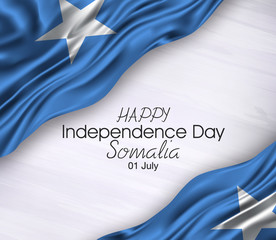 Vector illustration of Happy somalia Waving flags isolated on gray background 01 july.