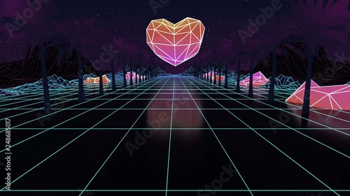 Low poly duotone Heart  Glowing neon, light grid landscapes