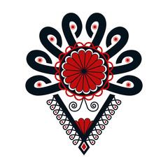 Obraz Polski folklor - czarno-czerwona parzenica, wzór - fototapety do salonu