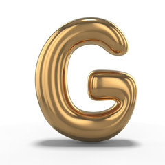 Letter G made of inflatable balloon isolated on white background. 3D
