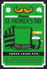 Saint Patrick day Irish beer pub, leprechaun hat