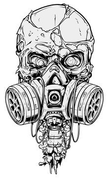 Detailed graphic realistic cool black and white human skull with protective gas mask, crazy eyes and broken spine. Isolated on white background. Vector icon. Vol. 1