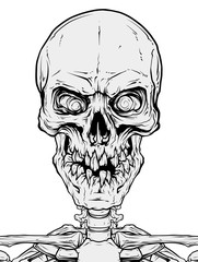 Detailed graphic cool realistic black and white human skull with broken teeth. Isolated on white background. Vector icon.