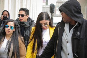 """Emma Coronel Aispuro, the wife of Joaquin Guzman, the Mexican drug lord known as """"El Chapo"""", arrives at the Brooklyn Federal Courthouse, in New York"""
