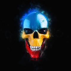 Colorful vampire skull with black eyes - 3D Illustration