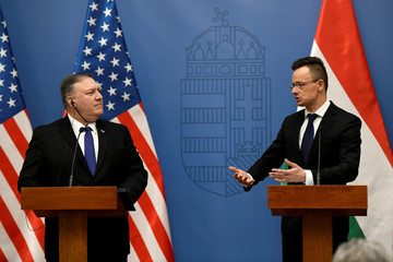 Hungarian Foreign Minister Peter Szijjarto speaks during a joint news conference with U.S. Secretary of State Mike Pompeo, in Budapest