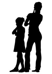 Mature with little child on white background