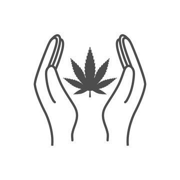 Cannabis, marijuana leaf, hand icon, legalize icon. Vector illustration.